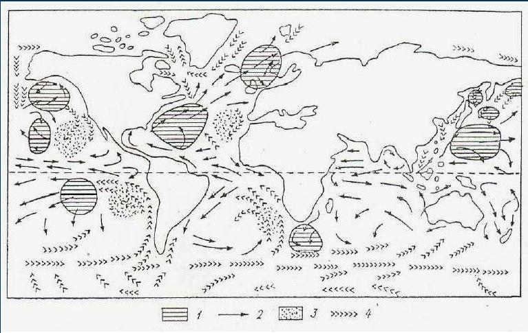Районы наиболее частого появления мезомасштабных конвективных образований над океанами; 1 – открытые ячейки, 2 – теплые течения, 3 – закрытые ячейки, 4 – холодные течения.