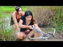 Wow !! Bela Garota Pescando Em Battambang - Khmer Net Fishing - Como Pegar Peixe - Parte