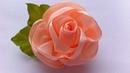 Украшение на заколку Канзаши Персиковая Роза Kanzashi Rose