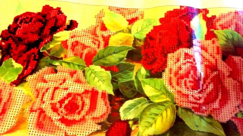 Отдыхалочка размером 90*30 Новинка Нежные розы Моя алмазная вышивка