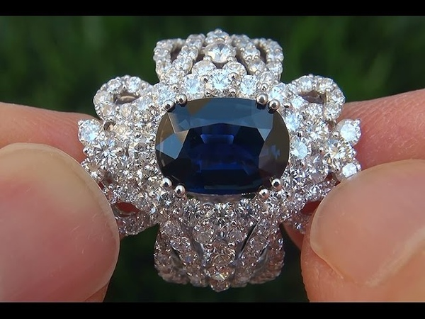 GIA Certified UNHEATED Natural VVS1 Blue Sapphire Diamond 18k Gold Engagement Ring - A133120