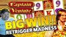 Captain Venture BIG WIN - HUGE WIN on Casino Games session - RETRIGGER MADNESS