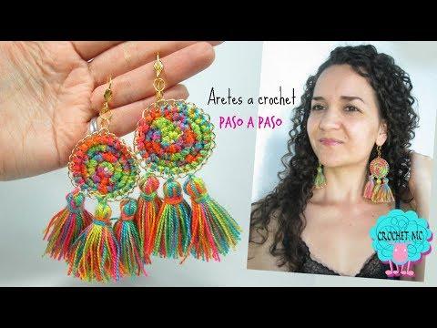 Tutorial Aretes-pendientes con borlas a crochet - principiantes