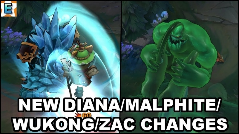 New Diana/Malphite/Wukong/Zac Changes on PBE - All Malphite Skins VFX Update - League of Legends