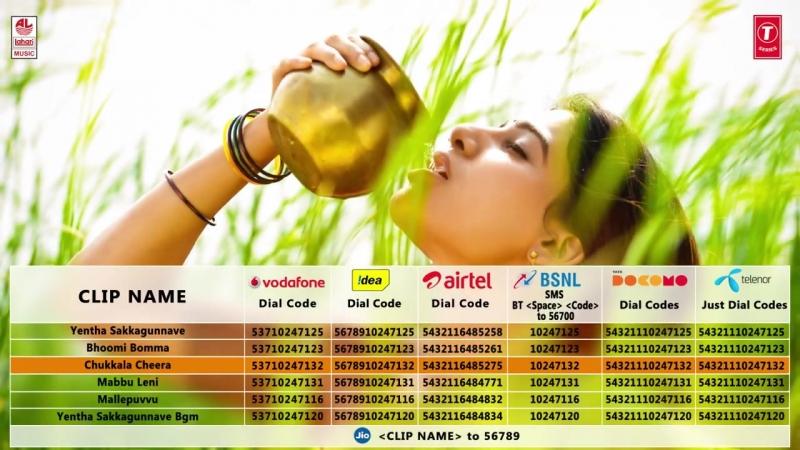 Rangasthalam - Yentha Sakkagunnaave CRBT Codes - Ram Charan, Samantha - Devi Sri Prasad