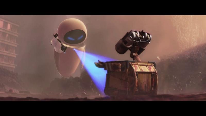 Ева впервые встречает Валли едва не убив того ВАЛЛ·И 2008 WALL·E