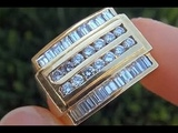 Men's CERTIFIED Diamond &amp Solid 18K Gold Ring - Top Quality VSG Diamonds