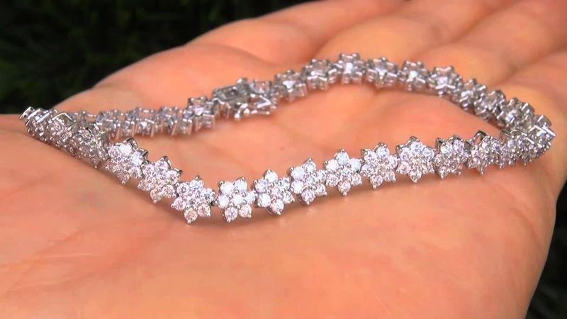 Estate VS1F Natural Diamond 14k White Gold Tennis Cocktail Bracelet - A141026