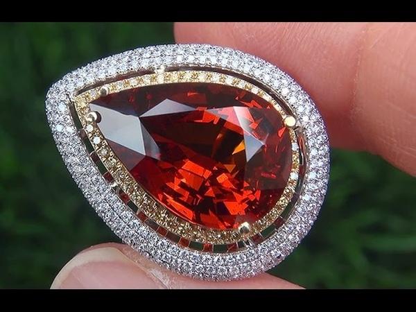 GIA Certified VVS UNHEATED Natural Spessartite Garnet Diamond 18k Multi Tone Gold Ring - A141549