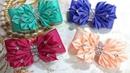 Резинки бантики из лент канзаши МК hair clips ribbon kanzashi DIY