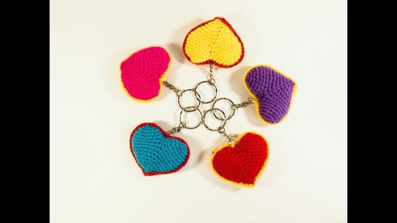 Брелок сердечко крючком на день святого Валентина Heart Crochet Keyring for Valentine's Day