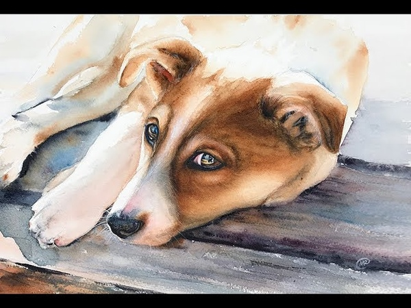 How to paint a DOG in Watercolor Painting Tutorial