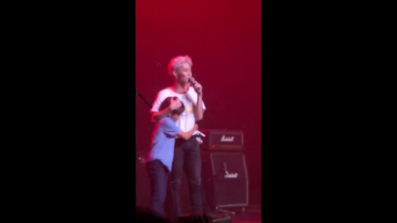 Here's the moment when Woosung brought out his little brother AJ onstage, danced with him, and had him introduce himself to all