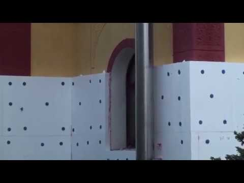 Приклейка пенопласта на клей-пену, клеим пенопласт прямо на фасадную краску