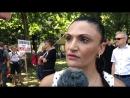 Frauenmarsch steht bereit Leyla Bilge im Interview vor dem Start am Mehringplatz