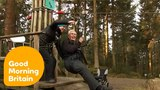 106 Year Old Man Does Record Breaking Zip Wire on His Birthday Good Morning Britain