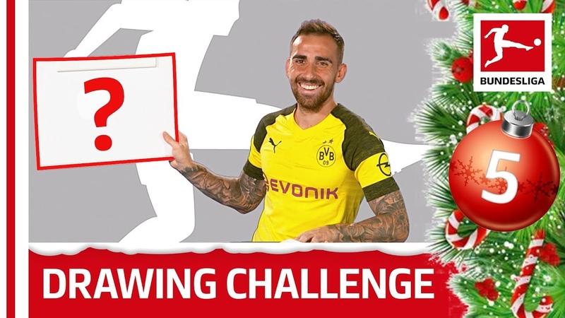 Alcacer, Hazard Co. Draw The Bundesliga Logo - Bundesliga 2018 Advent Calendar 5