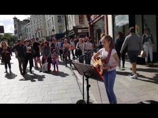 12-year-old Irish singer Allie Sherlock Singing on Dublin's Street