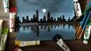 Acrylic painting pesona kota di bawah langit malam