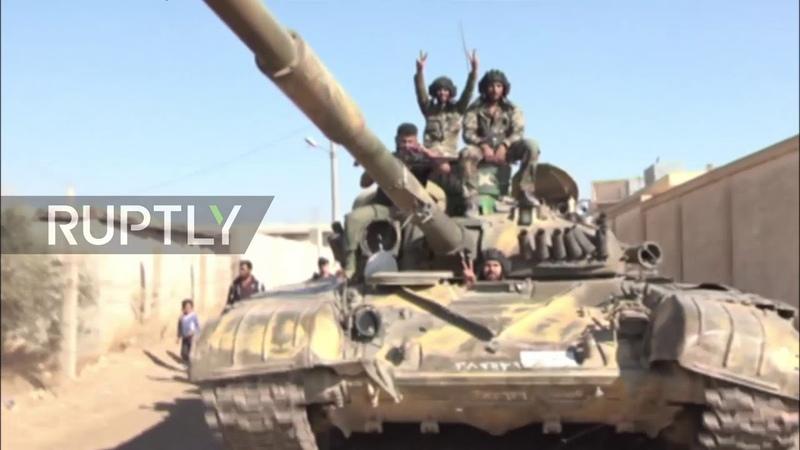 Syria: Civilians cheer as SAA enters Kharab al-Sham