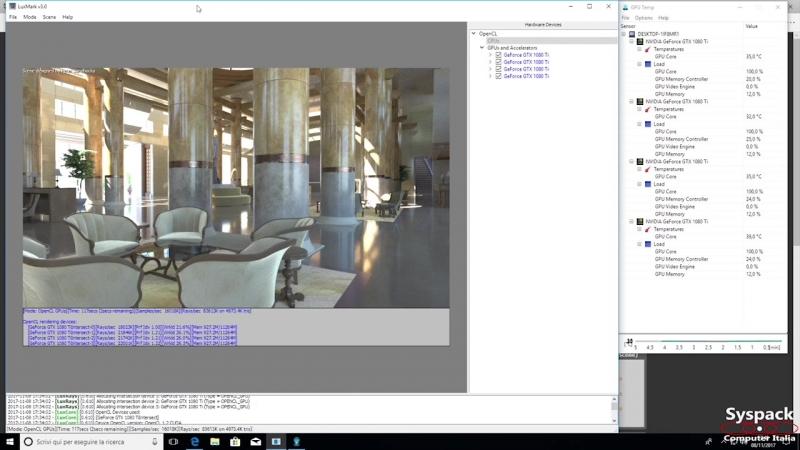 Dual Xeon E5 44 Core 88 Thread 4 GTX 1080Ti Rendering test Benchmark