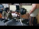 Тренер Олег Веселов. 220 кг на два повторения. Третий подход. Мой вес 107 кг 24.04.2018