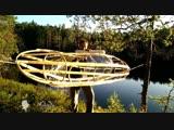 Самодельная прозрачная байдарка из веток и пленки Homemade stretch wrap kayak