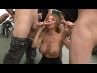 Janet mason uses a straw to gobble down hot loads of cum!