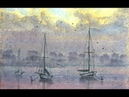 HOW TO PAINT FOG,MIST,WATER AND BOATS AT SUNSET EVENING ON THE ESTUARY