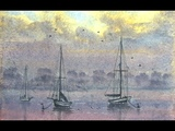 HOW TO PAINT FOG,MIST,WATER AND BOATS AT SUNSET,,,EVENING ON THE ESTUARY