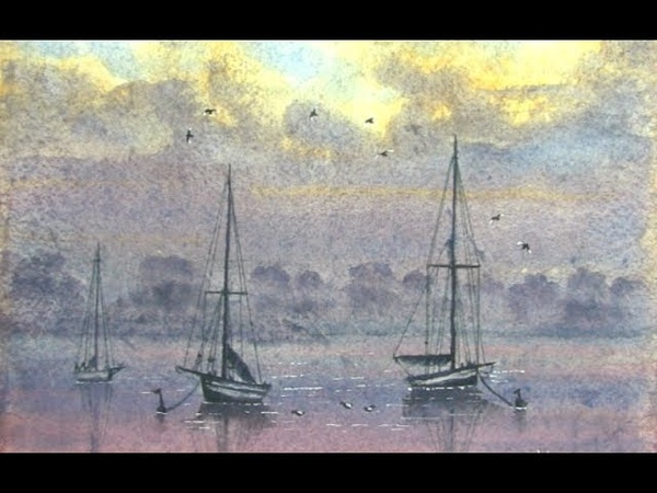 HOW TO PAINT FOG,MIST,WATER AND BOATS AT SUNSETEVENING ON THE ESTUARY