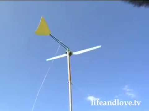 Montagem de uma turbina de eixo horizontal caseira