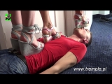 Trampling human carpet three Poland girls