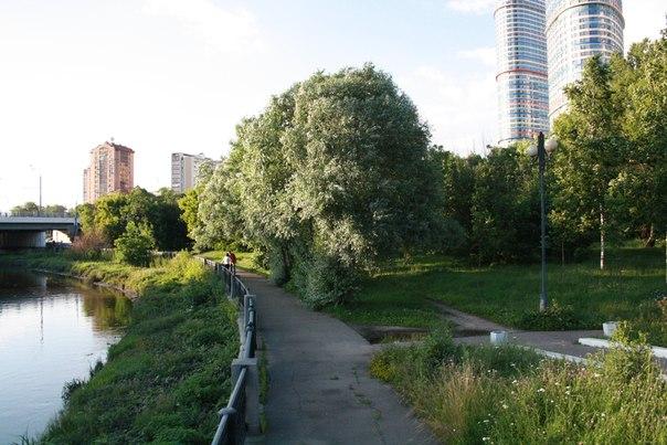 А вот такой поросший парк сразу за мостом. Виднеются две башни https://vk.com/photo16174219_456244875