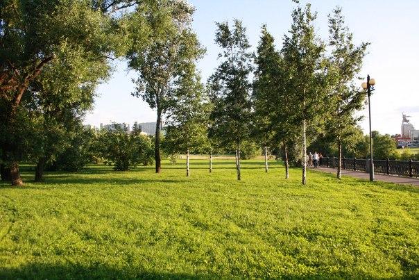 В другую сторону уже очень ухоженный парк с газоном прямыми дорожками.