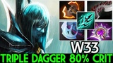 W33 [Phantom Assassin] Crazy Triple Dagger 80% Crit 7.19 Dota 2