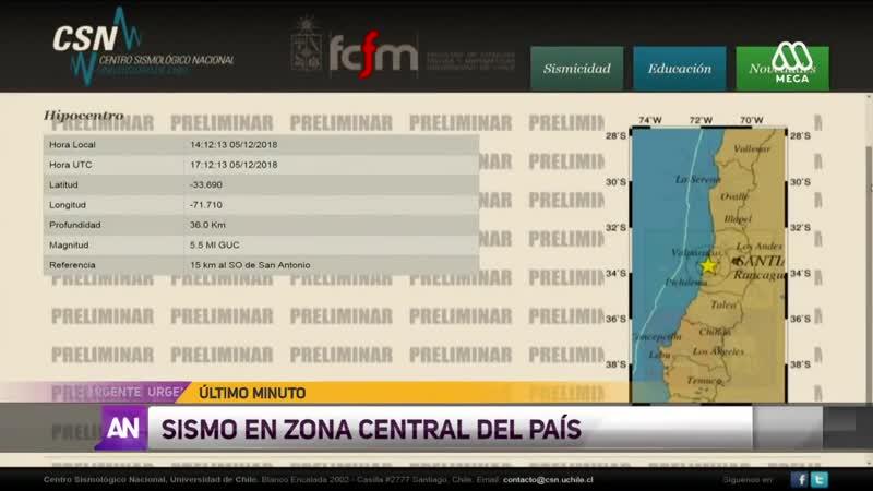 Temblor de 52 se registra en la zona central de Chile