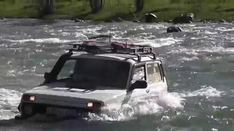 Прокаченная нива, повелитель дорог! Брод в горной речке.