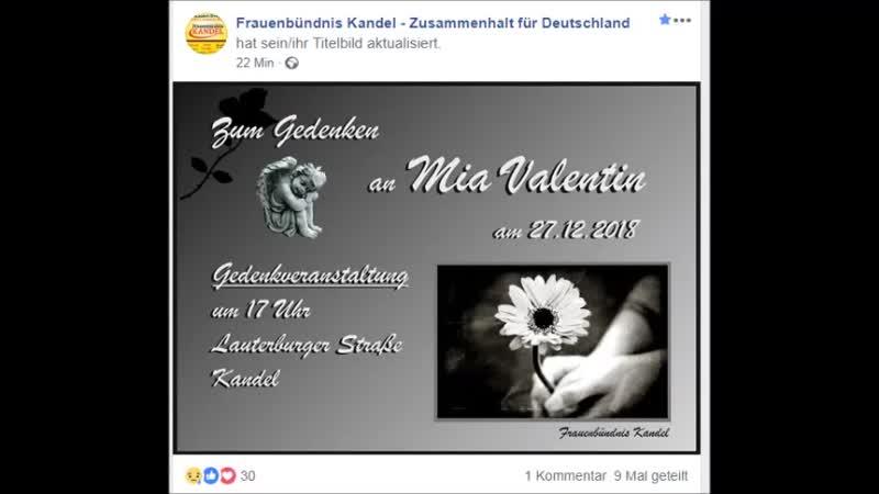 Frauenbündnis Kandel - Zusammenhalt für Deutschland.Gedenkveranstaltung am 27.12.2018..1700 Uhr Kandel Lauterburger Strasse.