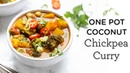 One Pot Coconut Chickpea Curry ‣‣ EASY VEGAN DINNER