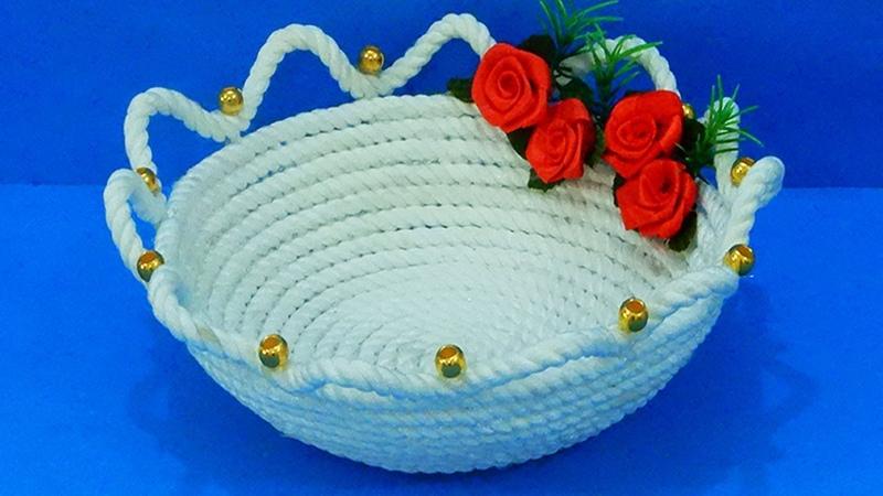 Very Beautiful DIY Basket Using ROPE ! Rope Craft Idea | Fruit Basket Making