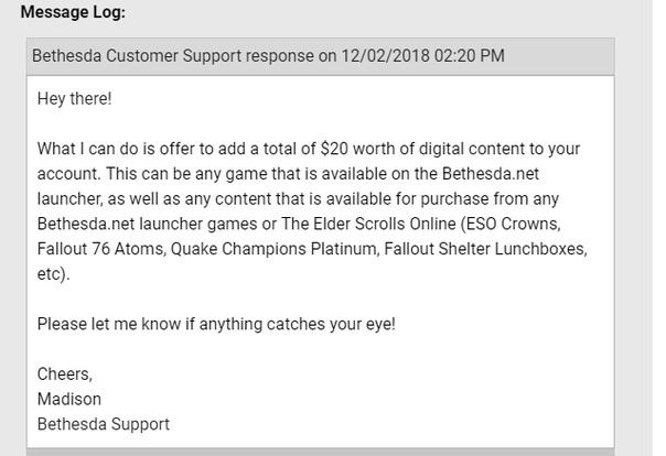 Bethesda продолжает компенсировать неудобства игроков Fallout76