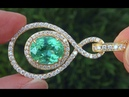 GIA Certified 8.11 ct UNHEATED VS1 Natural Paraiba Tourmaline Diamond 18k Gold Pendant - A141465