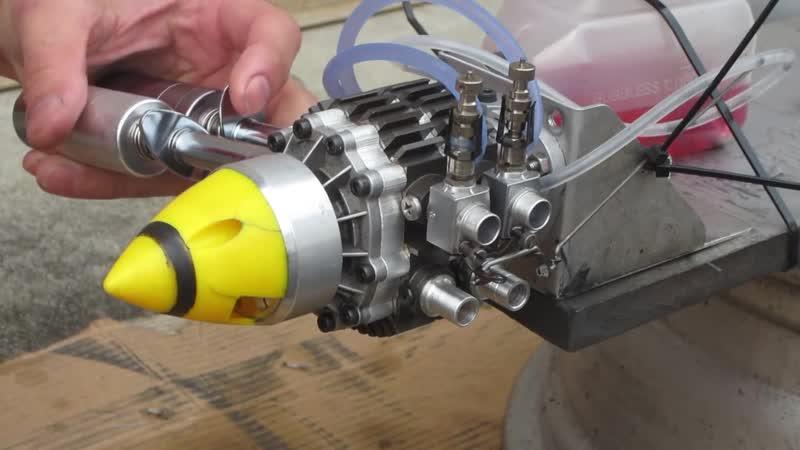 OS WANKEL ROTARY ENGINE 49PI Twin Rotor TEST OS49PI直列2ローター Ver2
