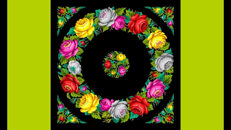 The design of cushion with beautiful roses (cross stitch pattern) _تصميم وسادة مع الورود الجميلة