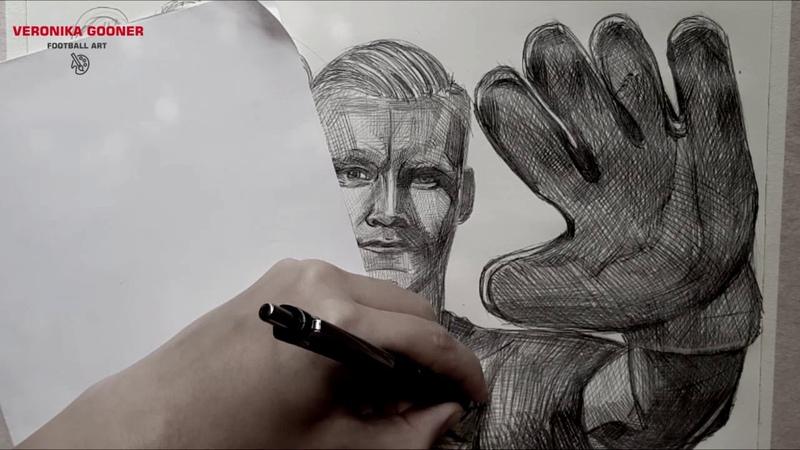 Portrait Timelapse Football Art Bernd Leno Arsenal