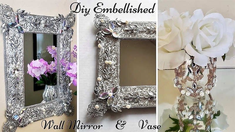 Diy Embellished Wall Mirror and vase Using Christmas Ornaments| Christmas Home Decor on a Budget