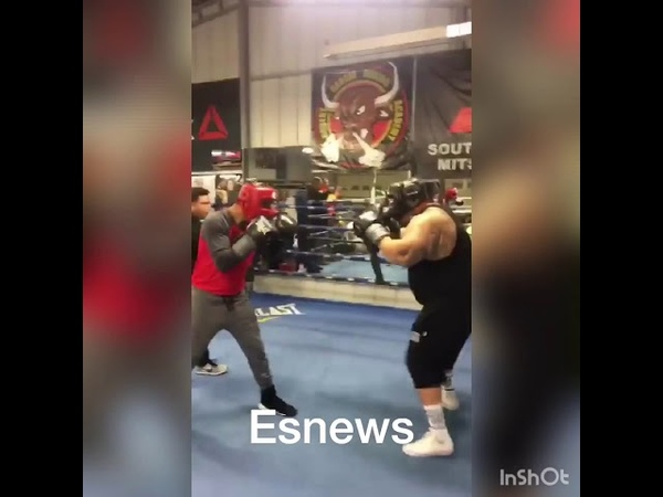 Mikey Garcia Sparring 330 Pound Weightlifter big boy