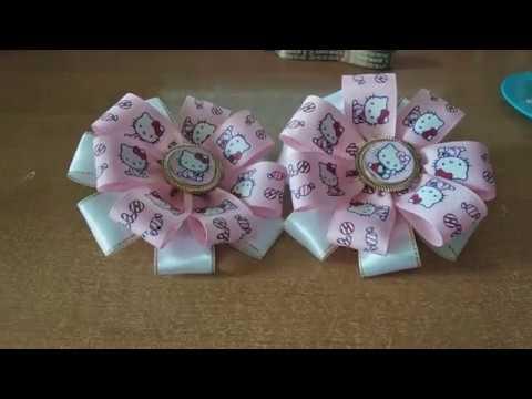 Бантики из репсовых лент Канзаши Hello Kitty Хелоу Кити МК Дуткевич Тетяна