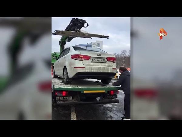 водитель разбил свою иномарку, лишь бы не платить за неправильную парковку